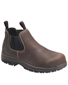 Avenger Men's Brown Foreman Pull-On Work Boots - Composite Toe, Brown, hi-res