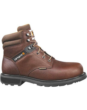 "Carhartt Men's 6"" Lace Up Waterproof Work Boots - Steel Toe, Brown, hi-res"