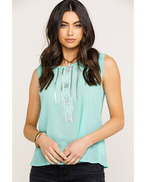Ariat Women's Oasis Top, Aqua, hi-res