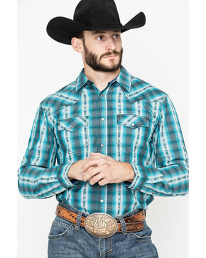 Cody James Men's Native Spirit Plaid Long Sleeve Western Shirt - Tall, Turquoise, hi-res