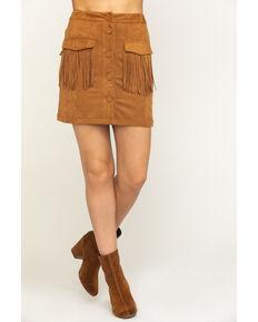 Flying Tomato Women's Fringe Pocket Mini Skirt, Camel, hi-res
