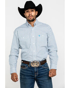 George Strait By Wrangler Men's Blue Small Plaid Long Sleeve Western Shirt - Big , Blue, hi-res
