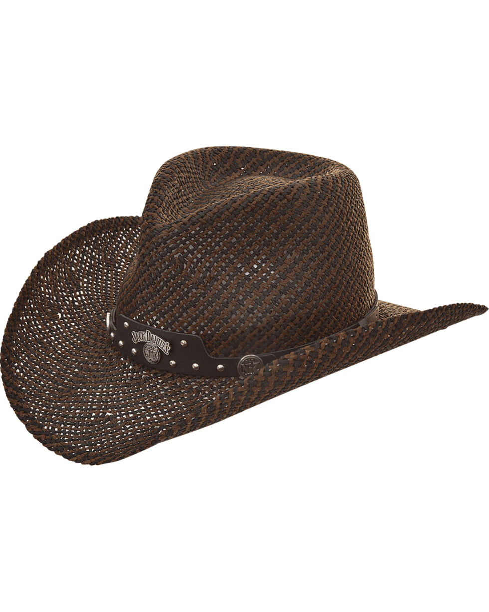 Jack Daniels Men's Twisted Toyo Straw Western Hat , Dark Brown, hi-res