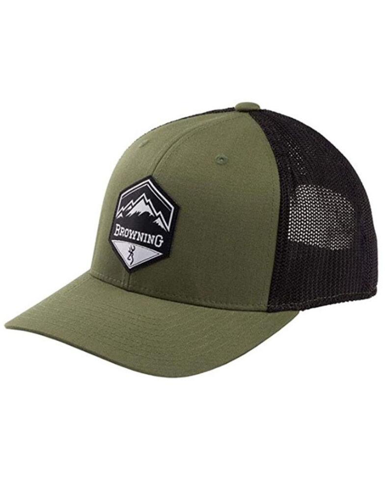 Browning Men's Loden & Black Mountain Buck Patch Mesh-Back Ball Cap , Brown, hi-res