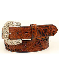 Nocona Women's Sequin Underlay Floral Embossed Leather Belt, Brown, hi-res