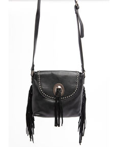 Shyanne Women's Black Kinsey Fringed Concho Leather Crossbody Handbag, Black, hi-res
