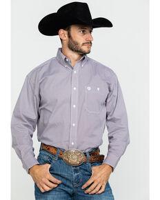 George Strait by Wrangler Men's Multi Geo Print Long Sleeve Western Shirt , Burgundy, hi-res