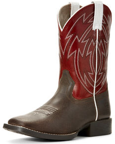 Ariat Youth Boys' Java Crossdraw Western Boots - Wide Square Toe, Brown, hi-res