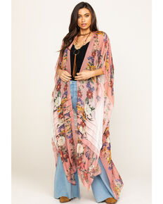 Aratta Women's Pink Floral Ombre Kimono , Pink, hi-res