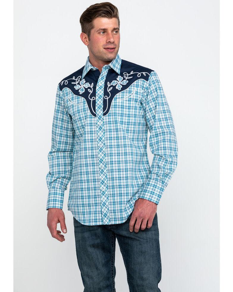 Roper Men's Small Fancy Plaid Long Sleeve Western Shirt , Blue, hi-res