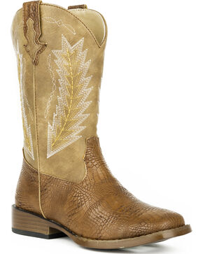 Roper Youth Boys' Brown Charlie Cowboy Boots - Square Toe , Brown, hi-res