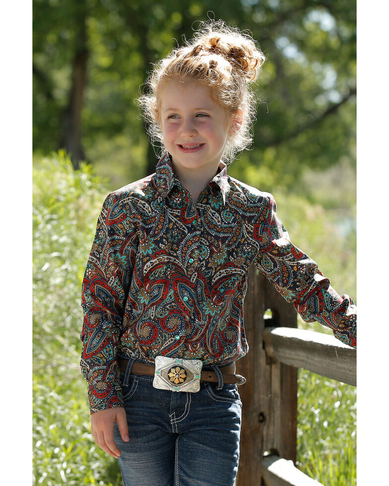 Cruel Girl Girls' Multi Paisley Print Long Sleeve Western Shirt , Multi, hi-res