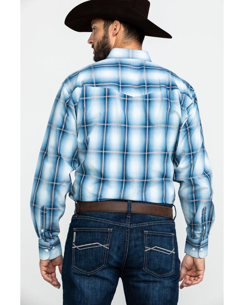 Resistol Men's Heitmiller Ombre Large Plaid Long Sleeve Western Shirt , Blue, hi-res
