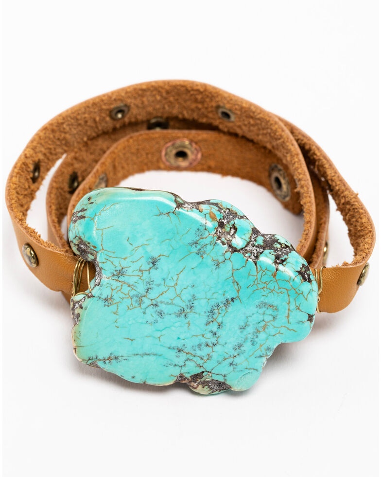 Idyllwind Women S Leather Wrap Bracelet With Turquoise Stone Brown Hi Res