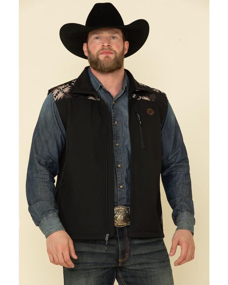 HOOey Men's Black Aztec Zip-Up Softshell Vest , Black, hi-res
