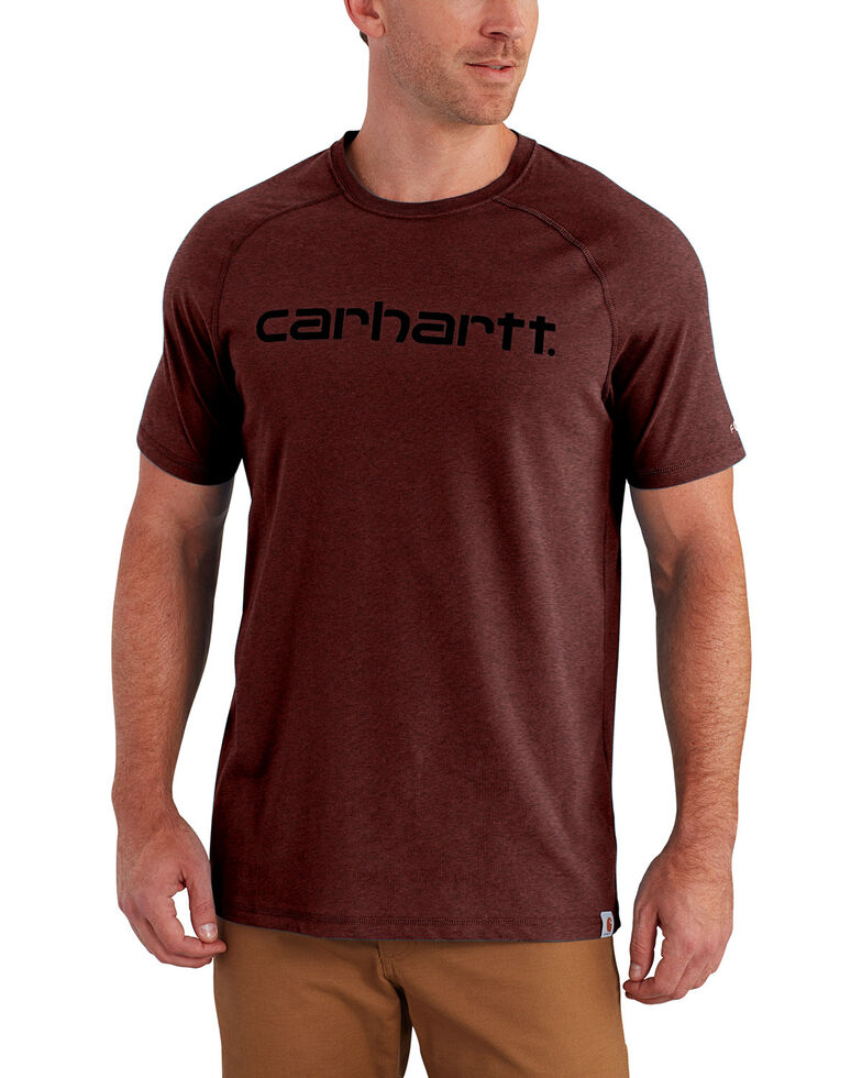 Carhartt Force Men's Cotton Delmont Graphic Short Sleeve Shirt, Red/brown, hi-res