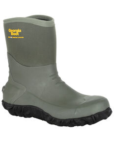 Georgia Boot Men's Mid Rubber Waterproof Boots - Round Toe, Green, hi-res
