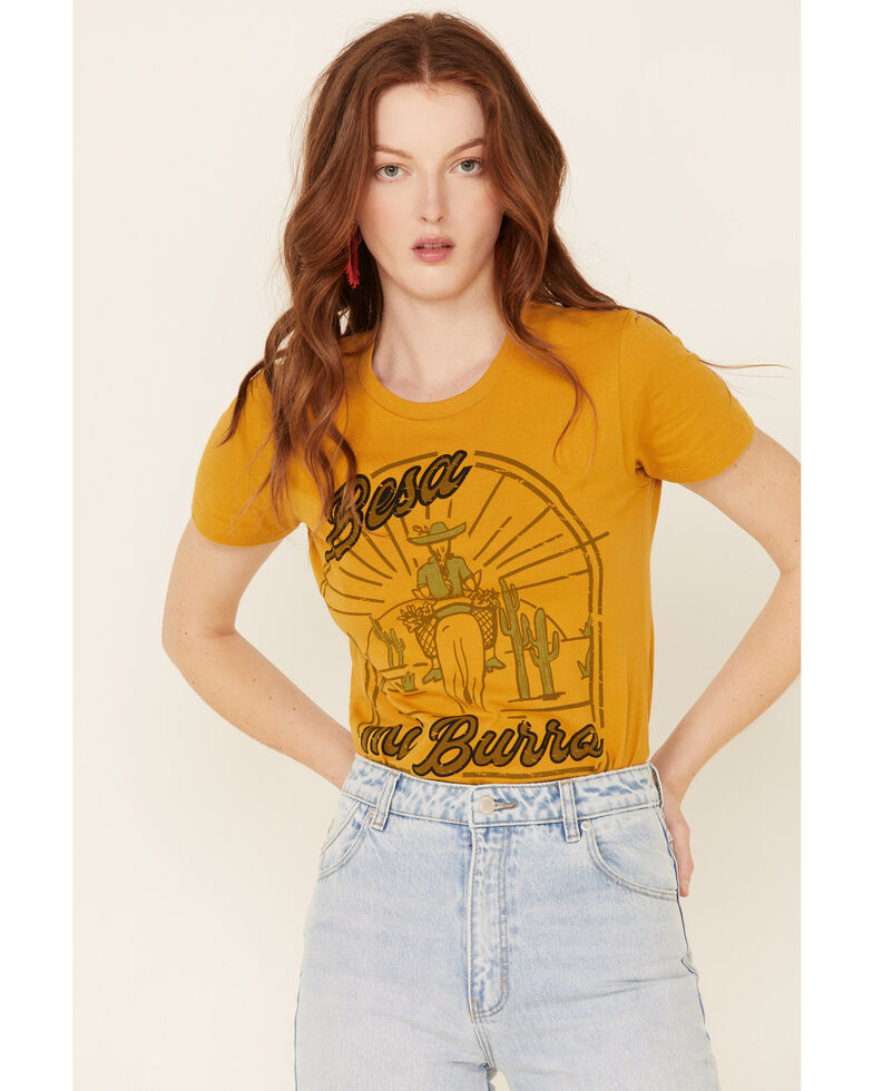 Rodeo Quincy Women's Besa Mi Burro Graphic Short Sleeve Tee , Dark Yellow, hi-res