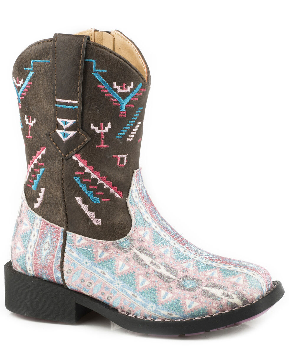 Roper Toddler Girls' Glitter Azteka Cowgirl Boots - Square Toe, Brown, hi-res