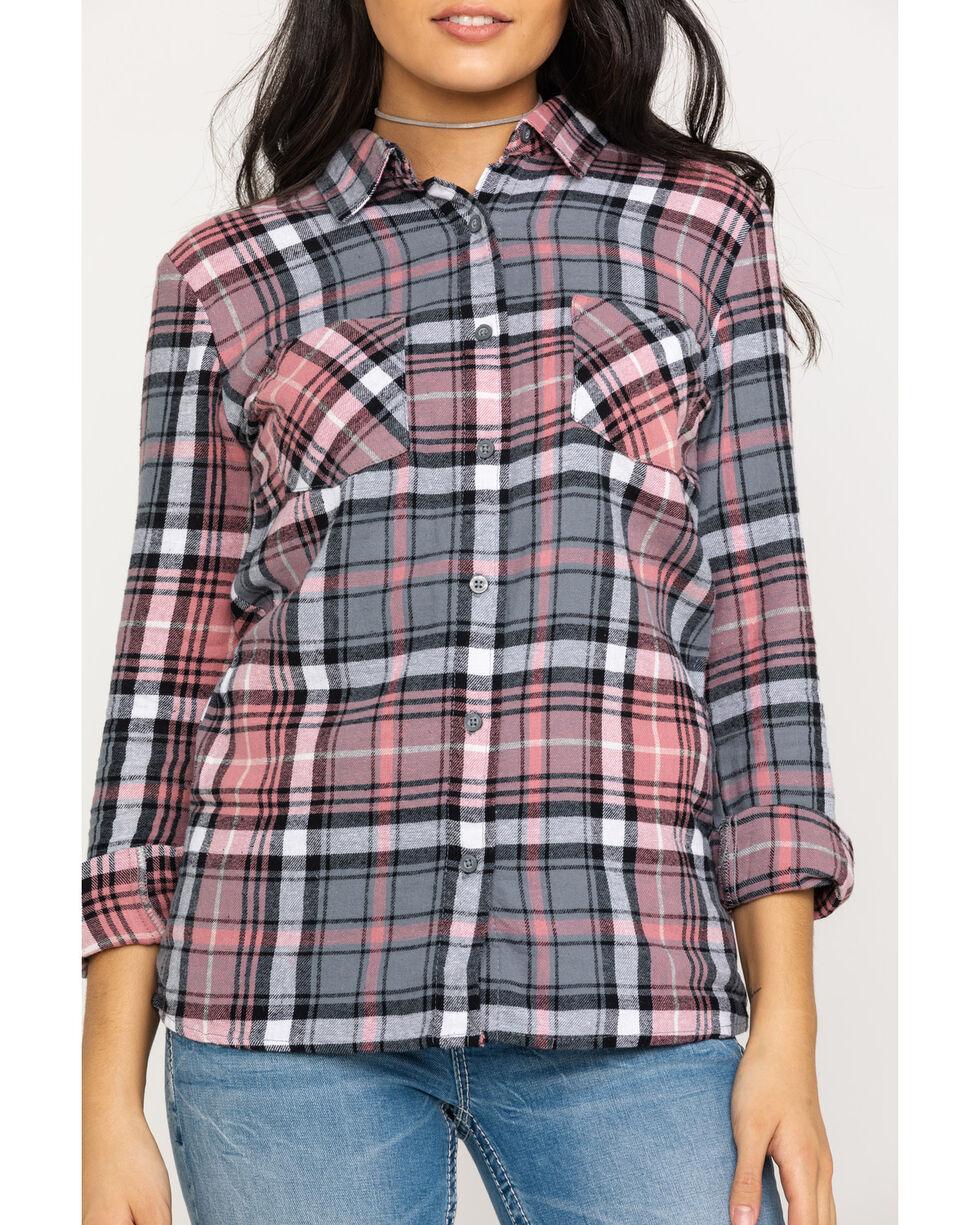 Derek Heart Women's Plaid Flannel Tunic , Pink, hi-res