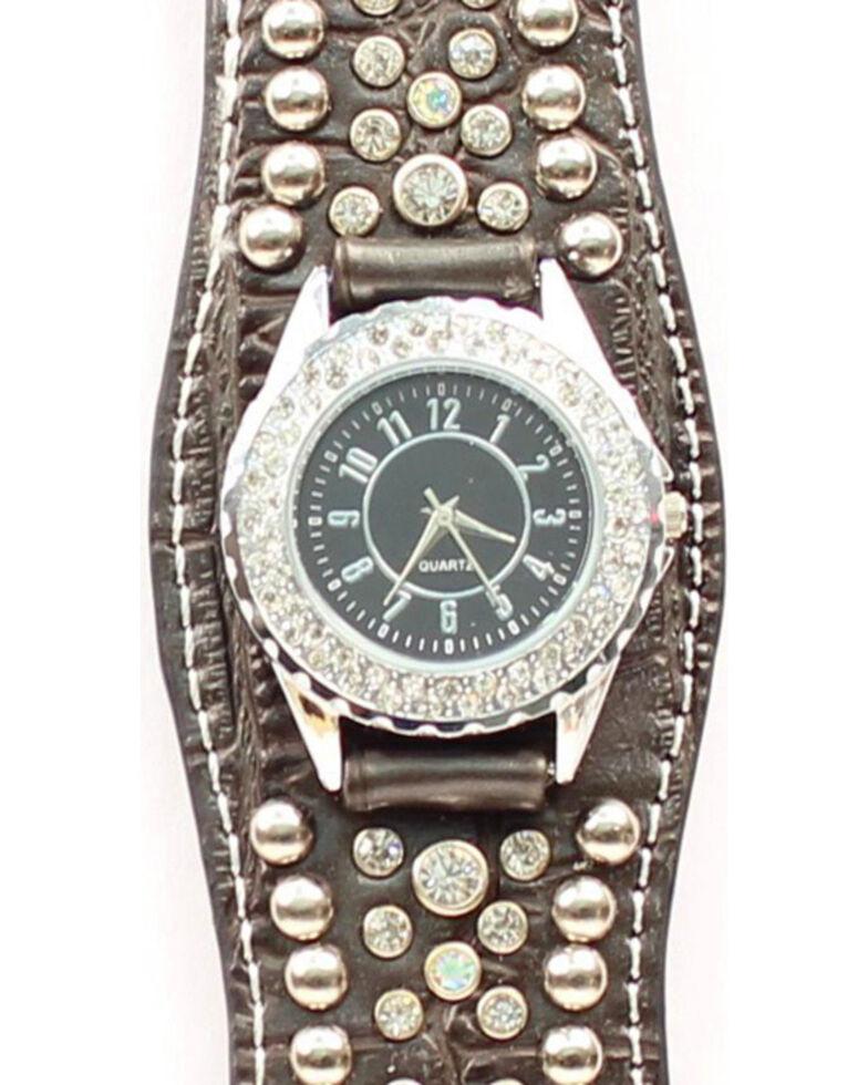 Blazin Roxx Scalloped Black Croc Print Crystal Watch, Black, hi-res