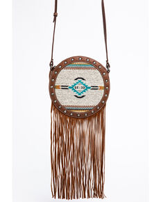 Shyanne Women's Aztec Serape Circle Fringe Bag, Brown, hi-res