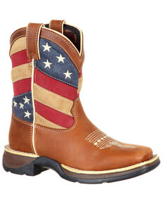 Durango Youth Boys' Lil' Rebel Patriotic Flag Western Boots - Square Toe, Brown, hi-res