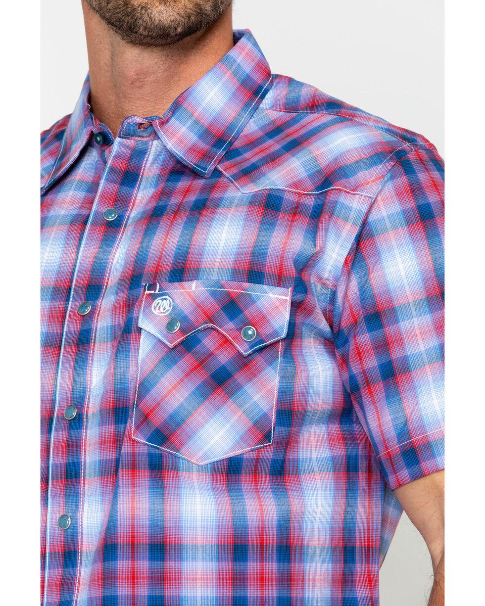 Wrangler Retro Men's Med Plaid Short Sleeve Western Shirt , Red, hi-res