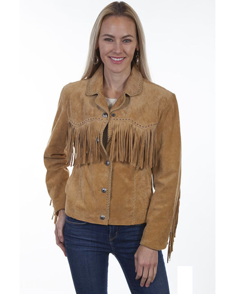 Scully Women's Suede Snap Fringe Jacket , Rust Copper, hi-res