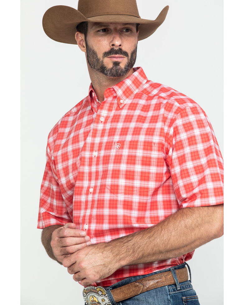 Ariat Men's Guntersville Stretch Plaid Short Sleeve Western Shirt - Tall , Red, hi-res