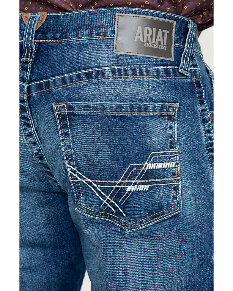 Ariat Men's M4 Cinder Brady Mid Wash Boot Jeans , Blue, hi-res
