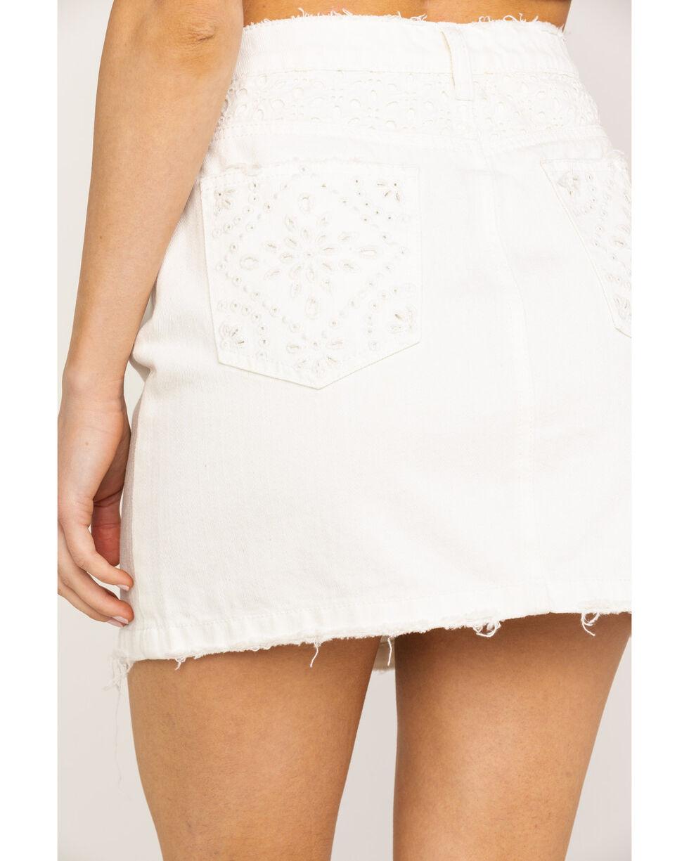 Miss Me Women's White Button Mini Skirt , White, hi-res