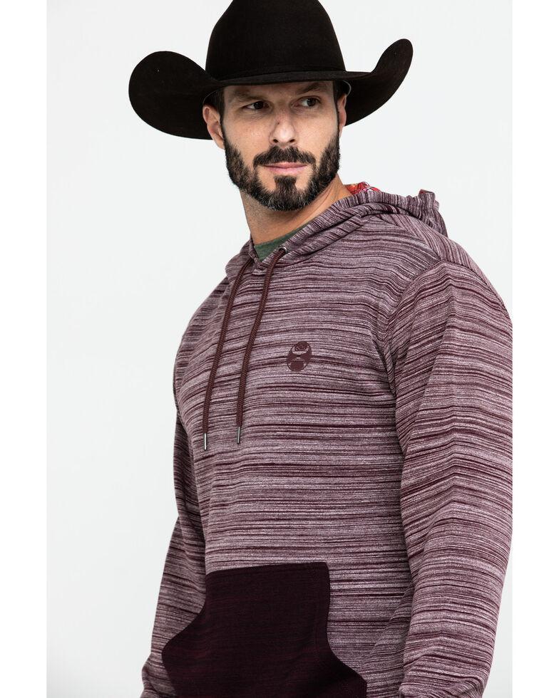 HOOey Men's Lajitas Striped Contrast Hooded Sweatshirt, Burgundy, hi-res