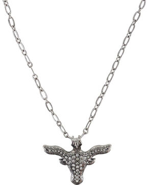 Shyanne® Women's Rhinestone Longhorn Necklace , Silver, hi-res