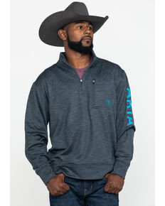Ariat Men's Charcoal Team Logo 1/4 Zip Fleece Jacket , Charcoal, hi-res