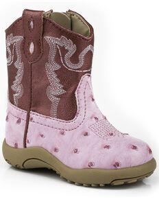 Roper Infant's Ostrich Western Boots, Pink, hi-res