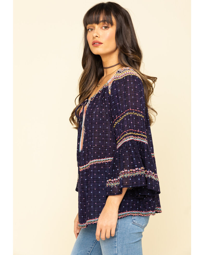 Free People Women's Talia Embroidered Blouse, Navy, hi-res