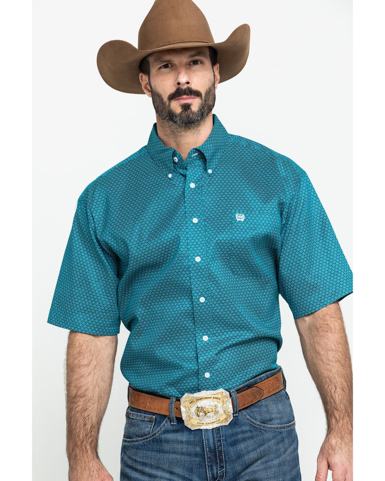 Cinch Men's Teal Small Geo Print Short Sleeve Western Shirt , Teal, hi-res