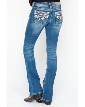 Miss Me Women's Denim Embroidered Pocket Boot Jeans  , Blue, hi-res