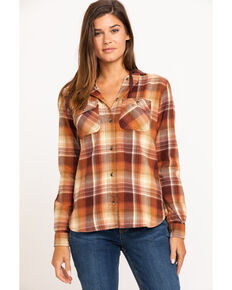 Carhartt Women's Beartooth Hooded Flannel Shirt, Brown, hi-res