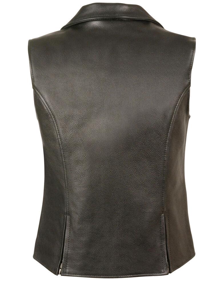 Milwaukee Leather Women's Lapel Collar Long Zipper Front Vest - 5X, Black, hi-res