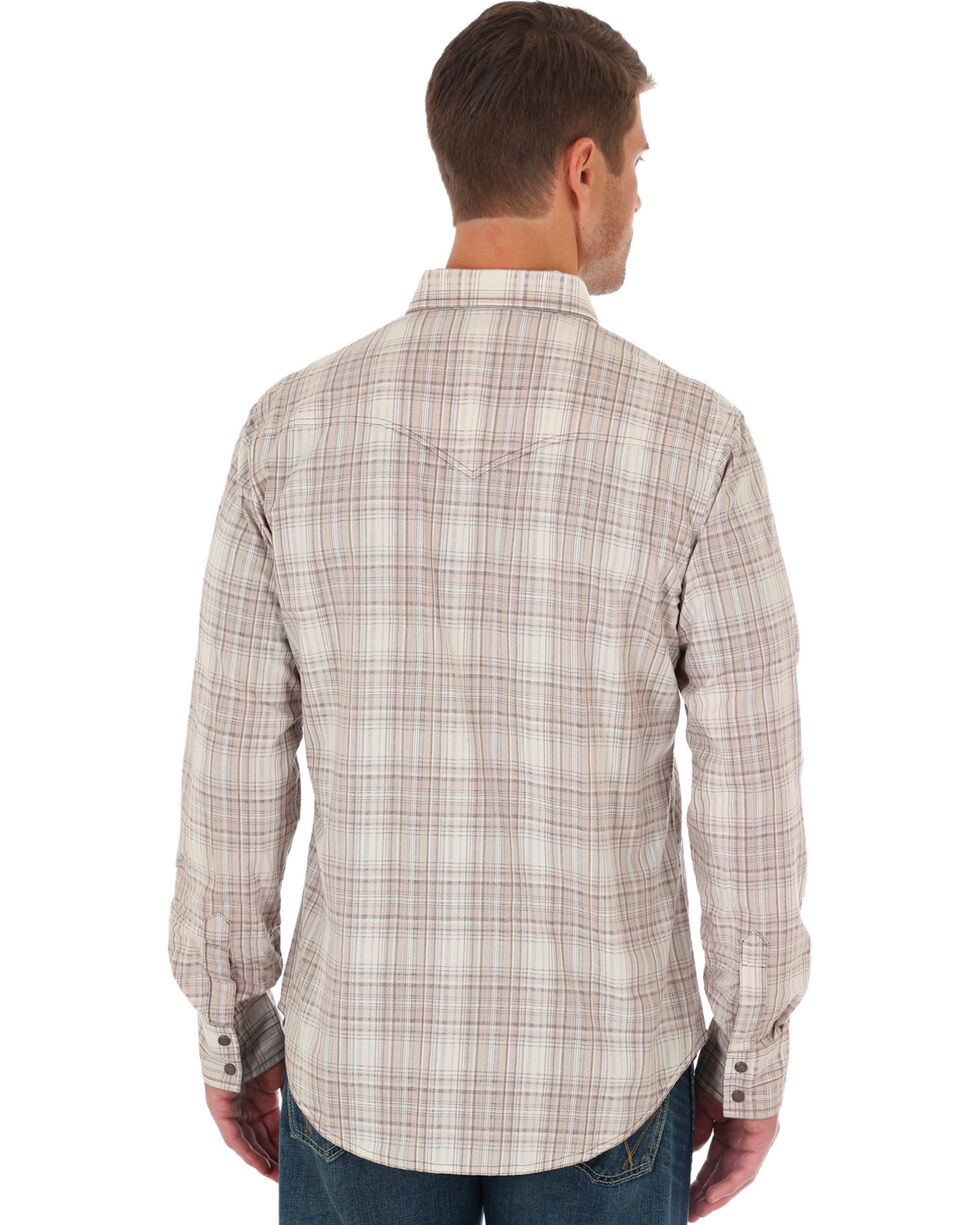 Wrangler Retro Men's Beige Plaid Long Sleeve Snap Shirt, Beige/khaki, hi-res