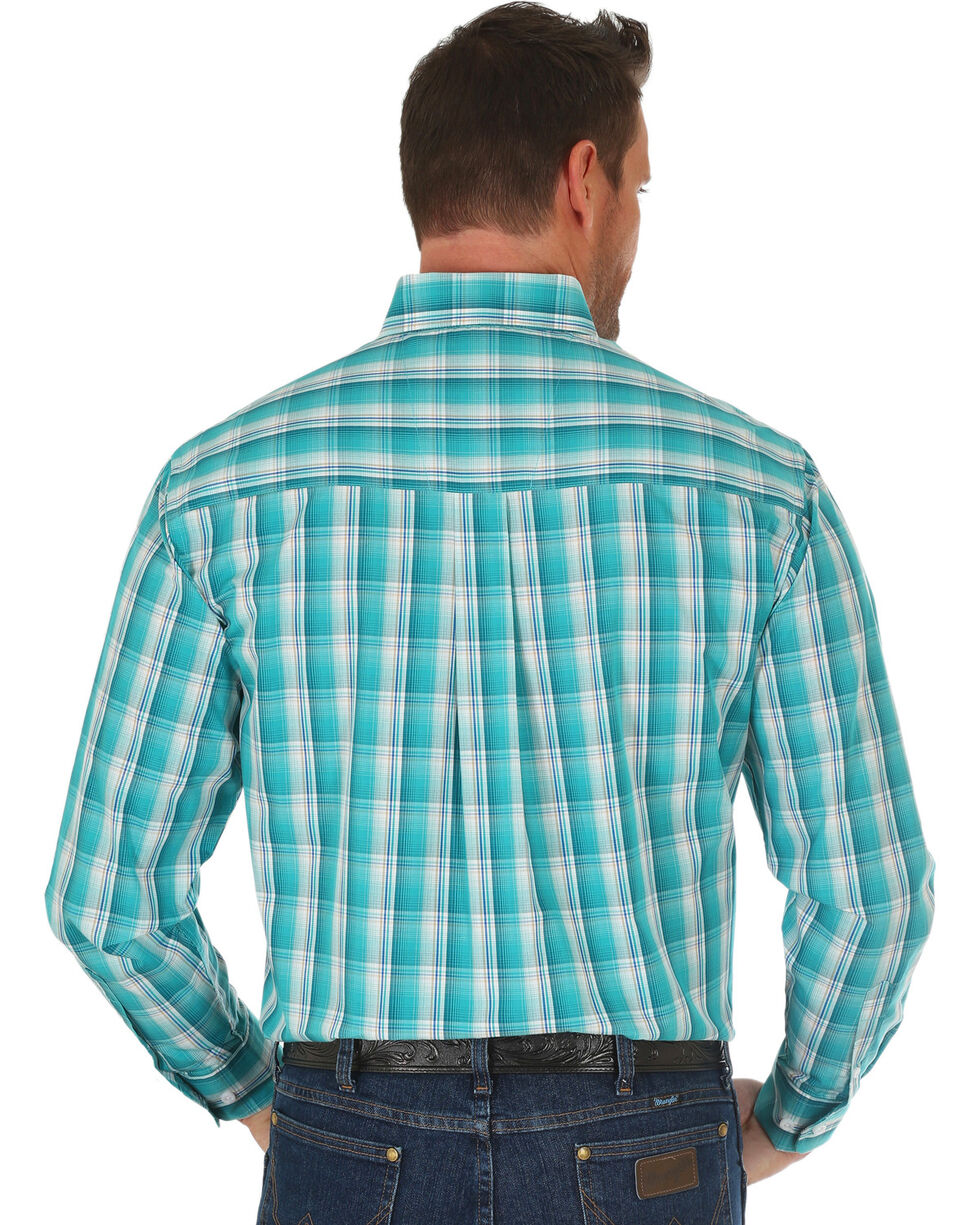 Wrangler Men's Turquoise Classic Plaid Long Sleeve Shirt , Turquoise, hi-res