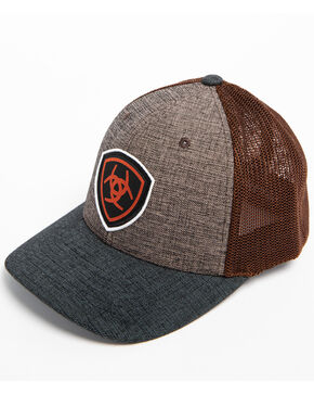 Ariat Men's Shield Logo Patch Trucker Cap, Brown, hi-res
