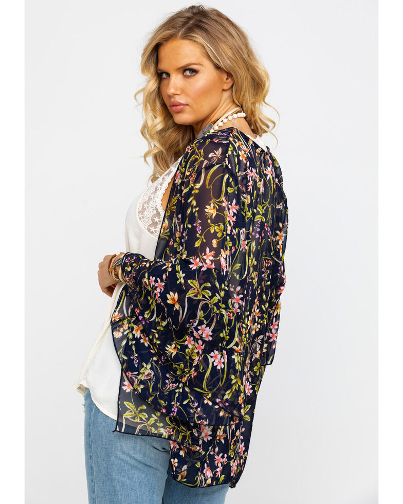 Red Label by Panhandle Women's Sheer Floral Kimono, Navy, hi-res