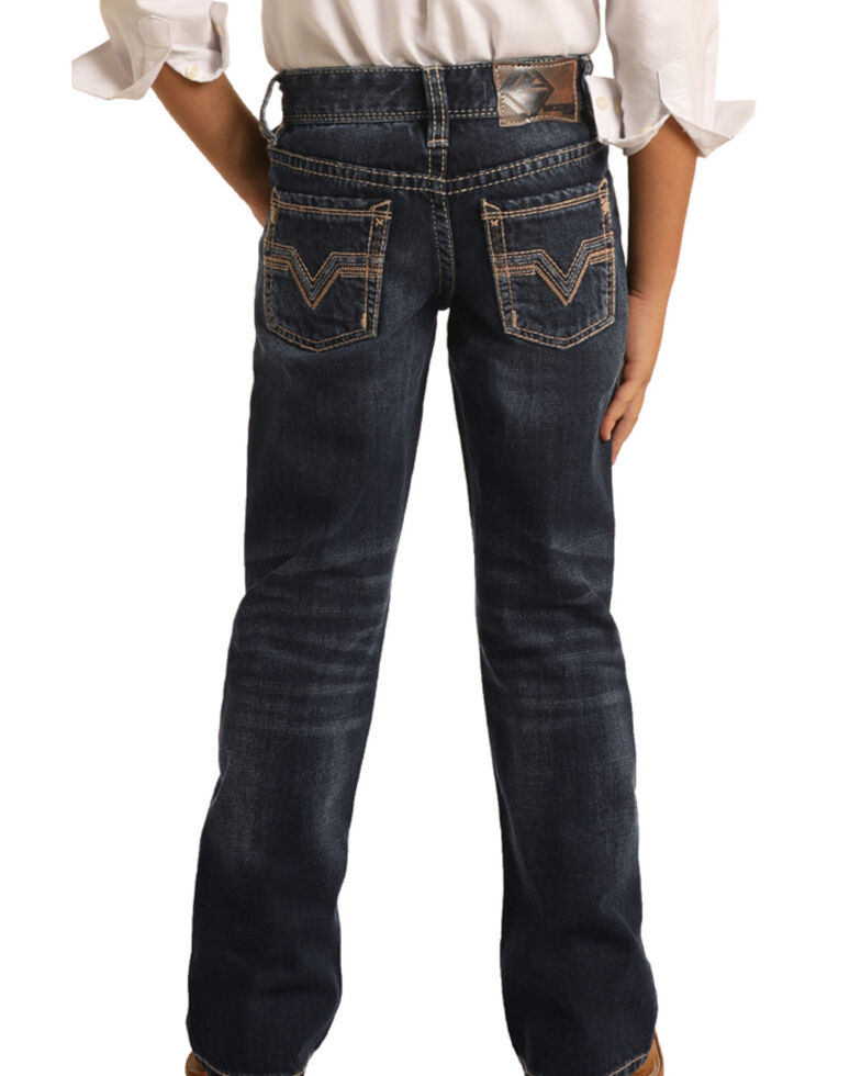 Rock & Roll Denim Boys' Dark Vintage Stretch Bootcut Jeans , Blue, hi-res