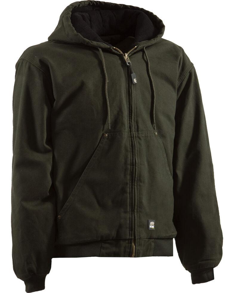 Berne Men's Olive Original Highland Washed Hooded Work Jacket , Olive, hi-res