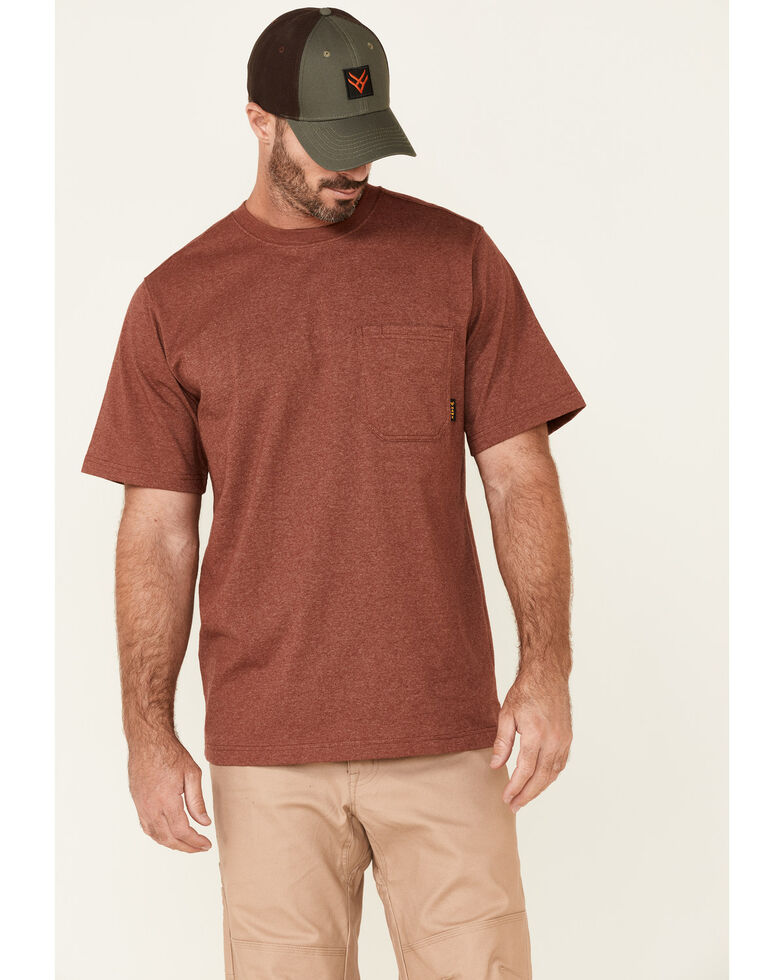 Hawx Men's Solid Red Forge Short Sleeve Work Pocket T-Shirt , Red, hi-res