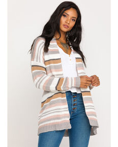 Rag Poets Women's Multi-Color Stripe Cardigan Sweater, Ivory, hi-res