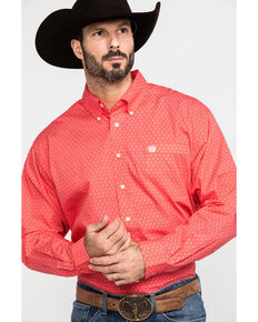 Cinch Men's Red Geo Print Button Long Sleeve Western Shirt , Red, hi-res